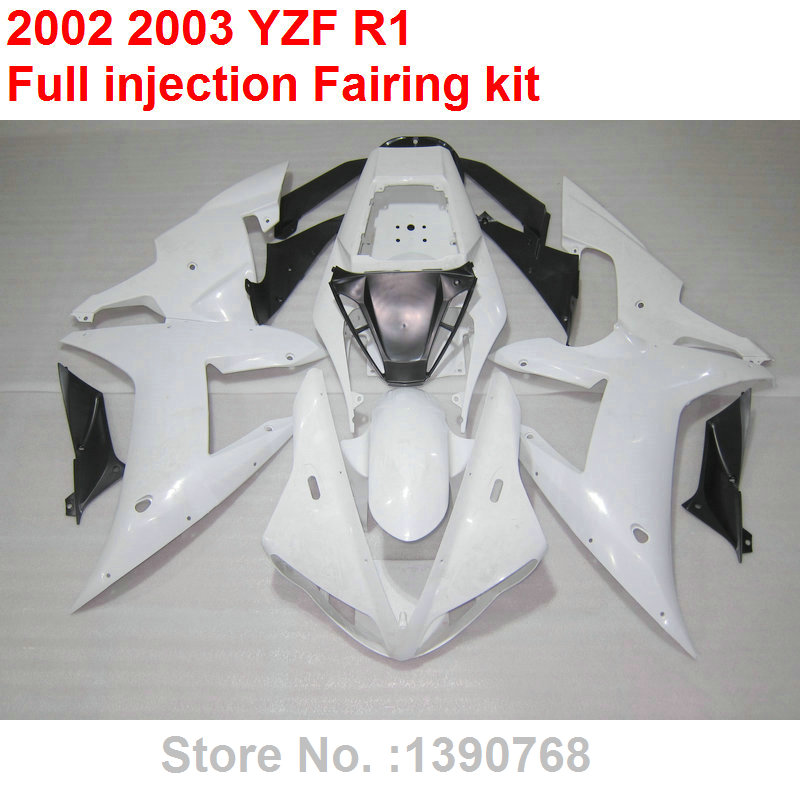 Injection molding ABS plastic <font><b>fairing</b></font> kit for <font><b>YAMAHA</b></font> <font><b>R1</b></font> 2002 <font><b>2003</b></font> white <font><b>fairings</b></font> set YZF <font><b>R1</b></font> 02 03 HZ27 image
