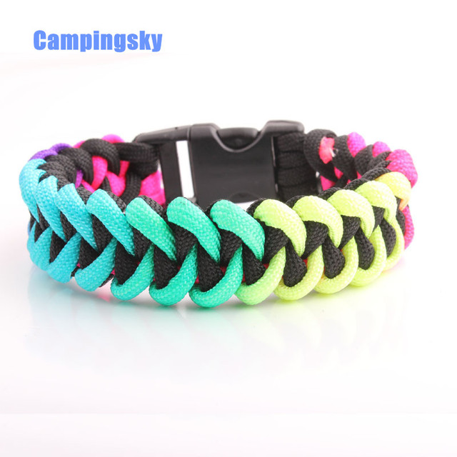 Campingsky Rainbow 550 Nylon Paracord Bracelet Hand Dyed Black Climbing Camping Survival Equipment