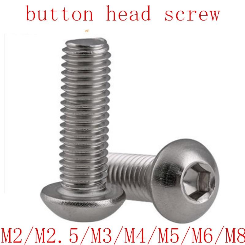 5-50pcs ISO7380 304 Allen Socket Head Screw  M2 M2.5 M3 M4 M5 M6 M8 Hexagon Socket Button Head  Screws