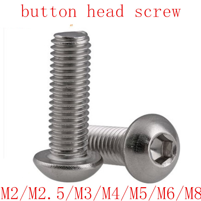 M6 x 10 Stainless Socket Button Head 6mm x 10mm Mushroom//Round Head Bolts x20