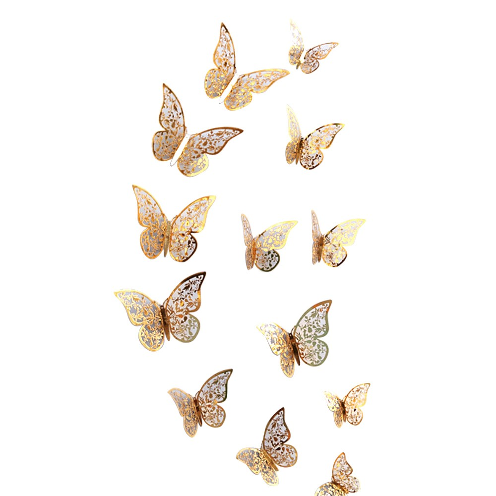Hot Sale 12 Pcs 3D Black And White Butterfly Sticker Art Wall Decal Home Decoration Room Decor High Quality