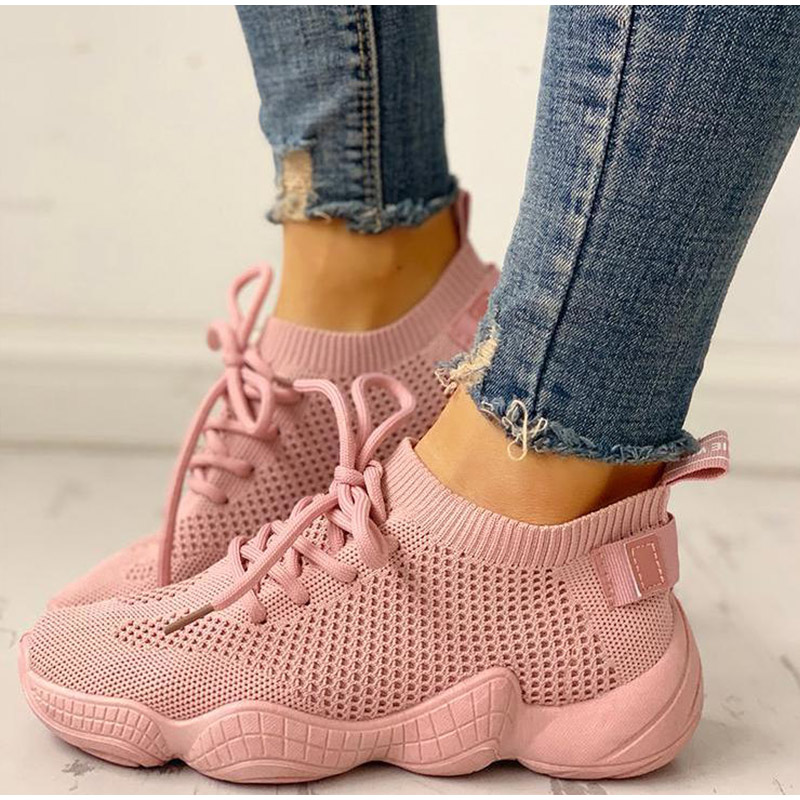 HTB1FB4MSAvoK1RjSZFwq6AiCFXaE Women Mesh Spring Sneakers Ladies Lace Up Stretch Fabric Platform Flat Vulcanized Casual Shoes Female Breathable Fashion