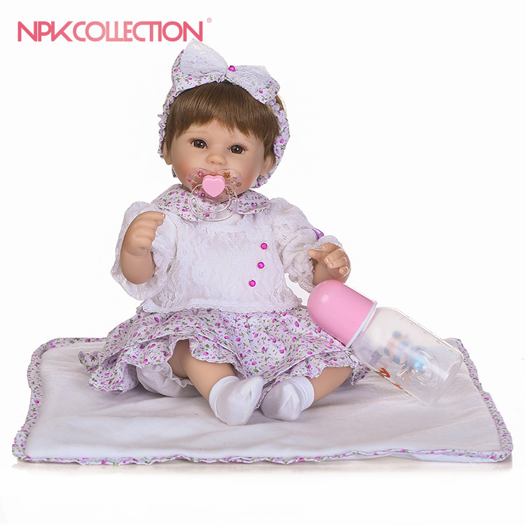 NPK 2017 NEW 40cm realistic reborn doll in Purple floral skirt suit high quality wig hair doll gift for children все цены
