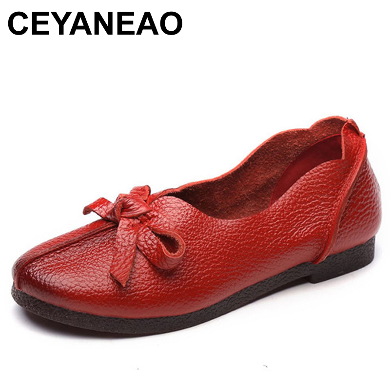 CEYANEAOWomen Flats Old Mother Shoes Loafers Cow Genuine   Leather     Suede   Rubber Vintage Slip On Bowknot Casual 35-40 E1544