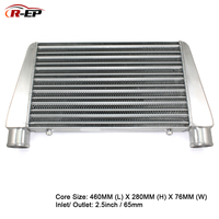 R EP Aluminum Intercooler Universal 460X280X76mm Radiator Inlet 65mm 2.5inch Outlet Cold Air Intake for Turbo Radiador
