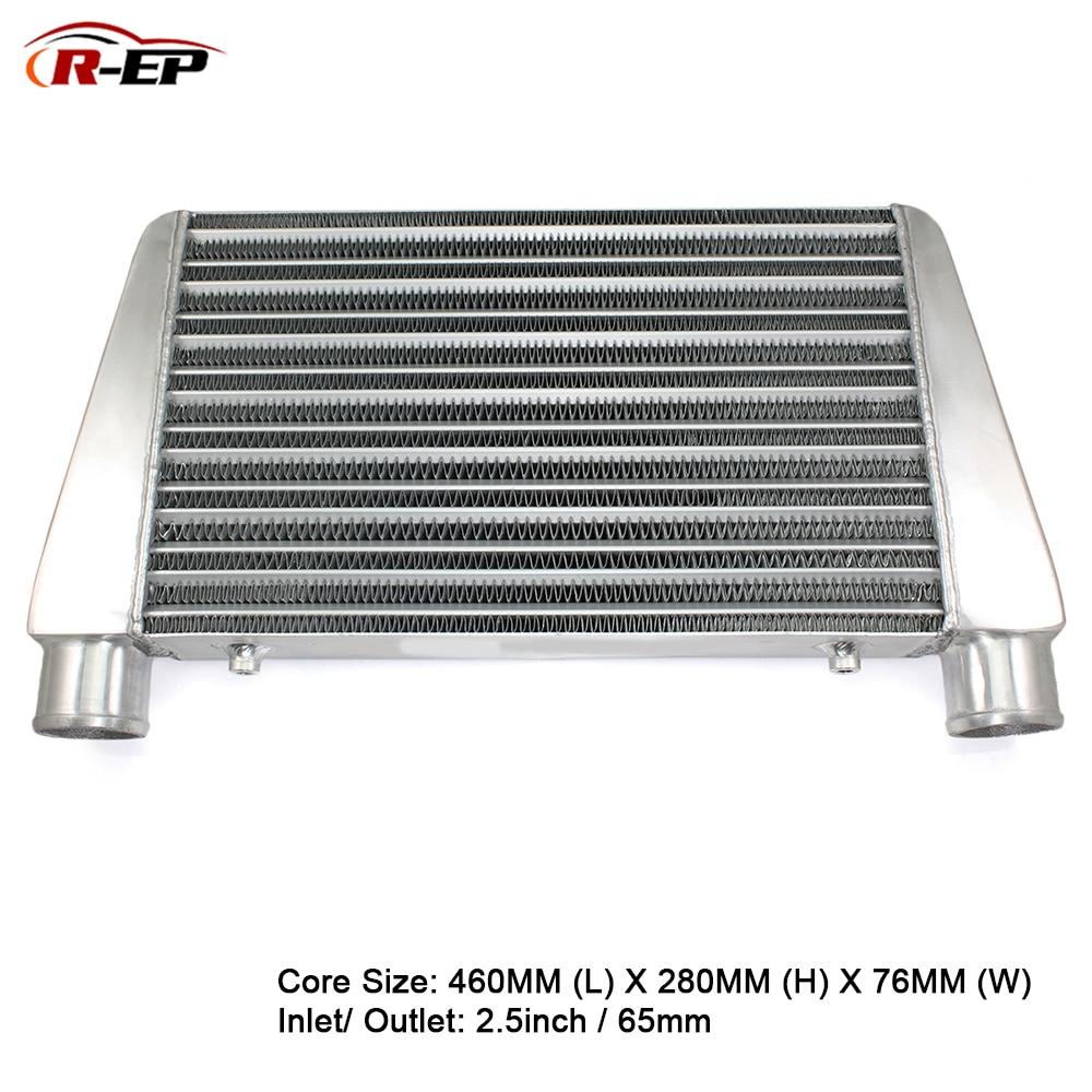 R-EP алюминиевый интеркулер Универсальный 460X280X76 мм радиатор на входе 65 мм 2,5 дюймов выход холодного воздуха для Turbo Radiador