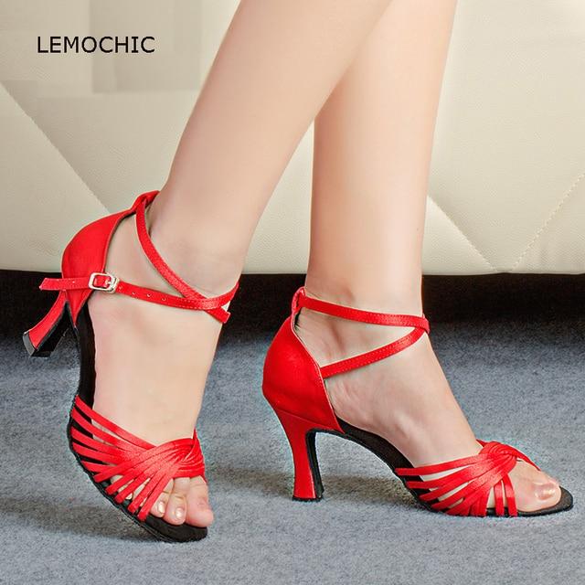 LEMOCHIC newest high heels samba latin double tap steps tango jazz ...