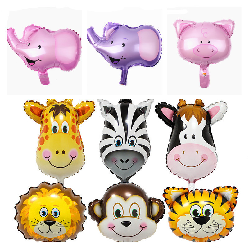 16inch Hot Cartoon animal Lion Tiger Pig Zebra head Helium Balloon Party Decoration Mini Child Birthday balloons Wild Zoo Globos