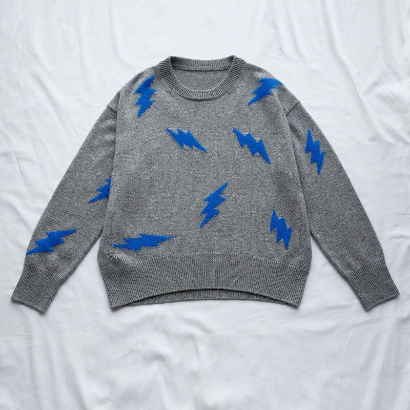 สีเทา MARKUS CACHEMIRE เสื้อกันหนาว Blue lightning bolt รูปแบบด้านหน้ารอบคอหลวม Jumper TOP ผู้หญิงแฟชั่น 2019-ใน เสื้อคลุมสวมศีรษะ จาก เสื้อผ้าสตรี บน   1