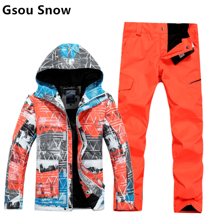 2015 Gsou snow mens ski suit male snowboard set orange skiing jacket and pants mountaineering suit skiwear waterproof 10K S-XL brand gsou snow technology fabrics women ski suit snowboarding ski jacket women skiing jacket suit jaquetas feminina girls ski