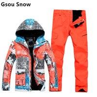 2015 gsou schnee herren skianzug männlichen snowboard set orange skifahren jacke und berg anzug skibekleidung wasserdicht 10 karat s-xl