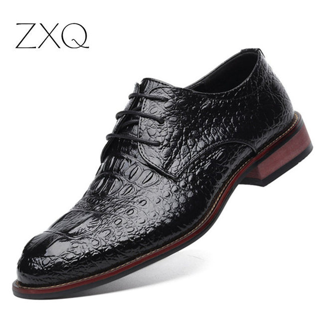 Бренд Натуральной Кожи Мужская Обувь Крокодил Картина Ручной Работы Повседневная Квартиры Мужчины Бизнес Oxfords Мужчины Кожаные Ботинки