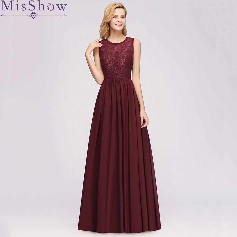 [Custom-made] Sexy   Bridesmaid     Dresses   Backless 2019 O-Neck Chiffon Lace Elegant Party   Dress   Wedding   Dress