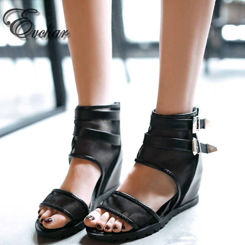 ФОТО Summer Fashion fish mouth boots peep toe  back zipper med heels height increasing mesh ankle cool buckle women shoes size 34-43