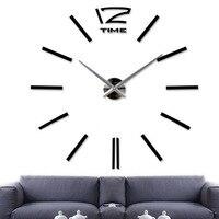 DIY Большие Настенные Часы 3D Наклейки Большой Часы Главная Декор Номеров Обои Уникальный Подарок Черный
