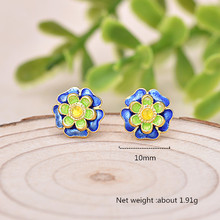 925 Silver Women Stud Earring Simple Flowers Enamel Gold for Fashion Jewelry