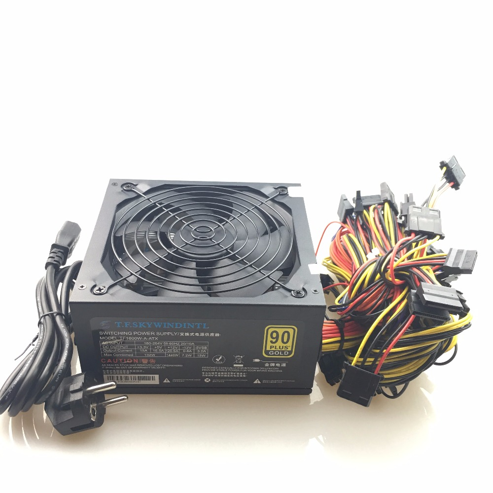 все цены на free ship 1600w psu Power Supply For ATX Mining Machine Support 6 Pieces Graphics Card Computer BTC Mining