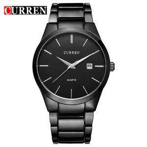 Image 1 - Curren Luxe Klassieke Mode Business Mannen Horloges Display Datum Quartz Horloge Mannelijke Horloge Volledige Steel Klok Relogio Masculino