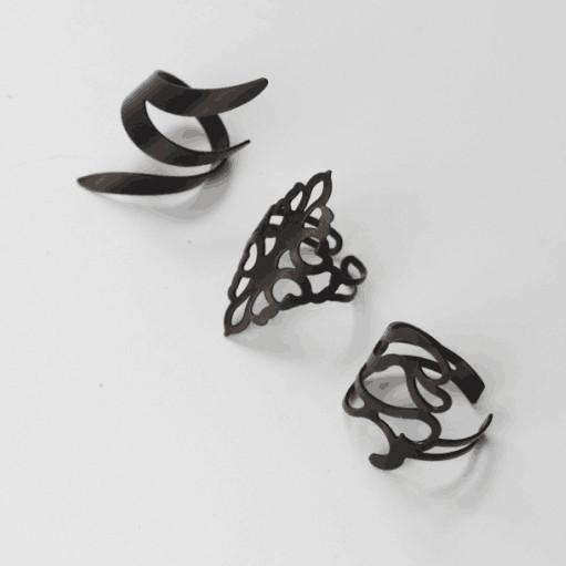 HTB1FB5MIFXXXXbWXpXXq6xXFXXXT - Set of 3 Dried Leaves Inspired Black Rings