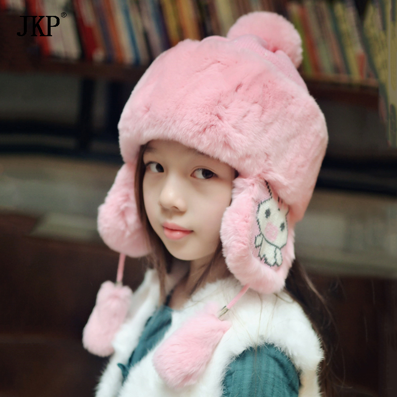 Winter Children Fur Hats Baby Rex Rabbit fur hat For Girls&Boy Cotton Thick Warm Knitted Ears Beanie Cap russian hot sale children knitted rabbit fur hats girl winter warm beanie hat real fur solid hat scarf cap free shipping qmh65
