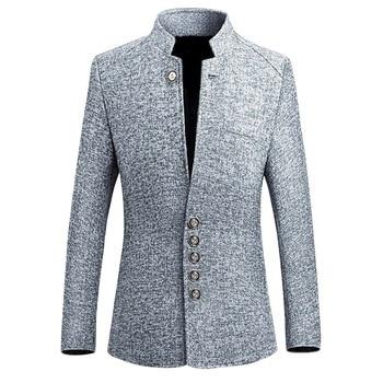 2019 Marca Mens Blazer Casacos Vintage Estilo Chinês Blazers Vestido de Negócios Casuais Gola Jaquetas Masculino Slim Fit paletó 1
