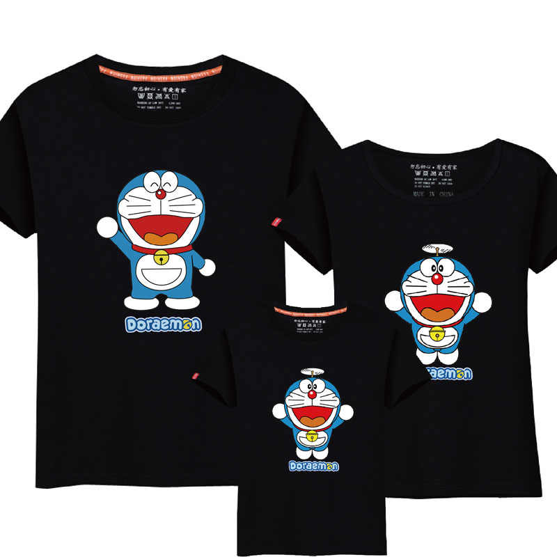 909e5f0b9 95% Cotton&5% Silk Doraemon Cartoon T Shirts Family Matching Outfits Mommy  and Me Clothes