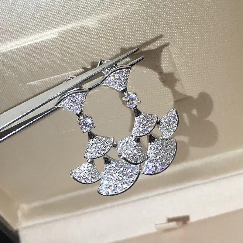 2018 Hot Brand Pure 925 Sterling Silver Jewelry For Women Big Fan Earrings Diva Dream Party Stud Earring High Quality Jewelry hot brand pure 925 sterling silver jewelry for women gifts bowknot earring 5a cubic zirconia bowknot stud earring party jewelry