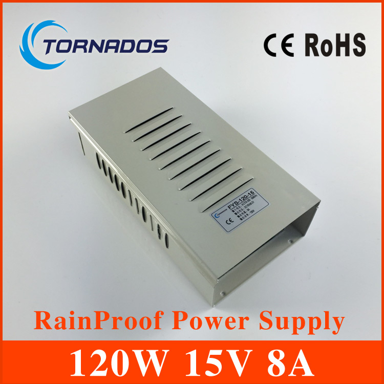 15V 8A 120W Rainproof Switching Power Supply AC / DC Universal Regulated 110V/220V FY-120-15 lc 12 250w 20 8a rainproof switching power supply silvery grey 175 240v