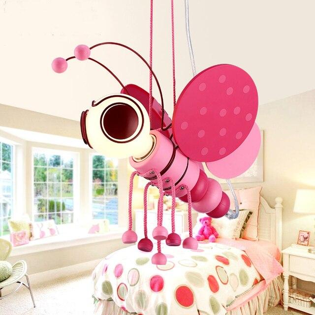 Children Eye Protection Droplight Cute Girl Pink Princess Bedroom Cartoon  Bee Pendant Light