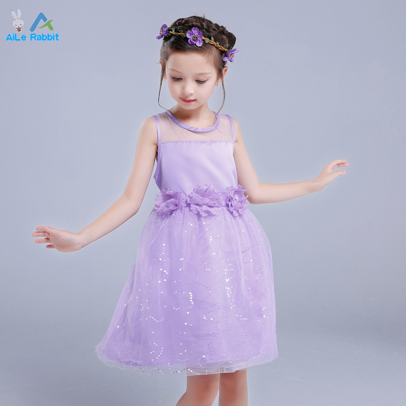 AiLe Rabbit Kids Infant Girls Flower Dress Children Bridesmaid ...