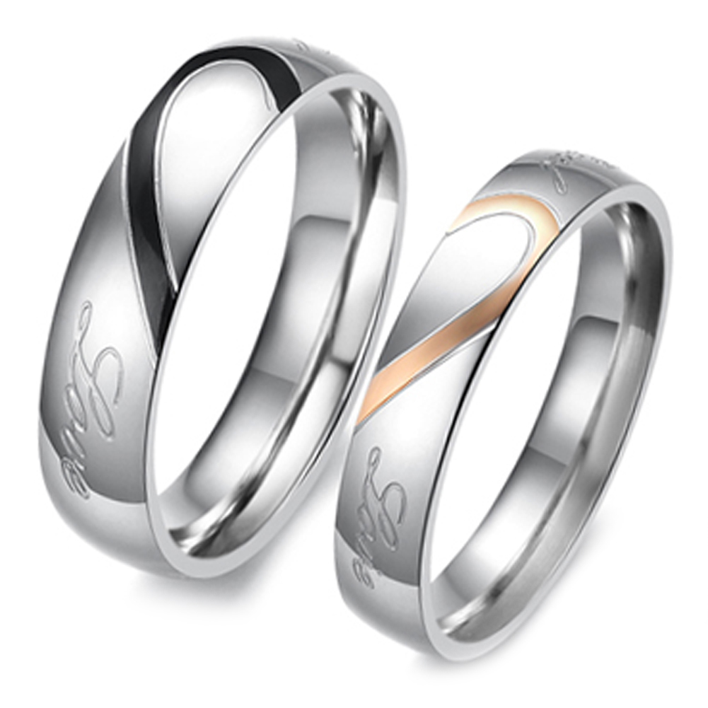 1Piece Couple Ring Quality Stainless Steel Heart Alliance Ring For Women Men