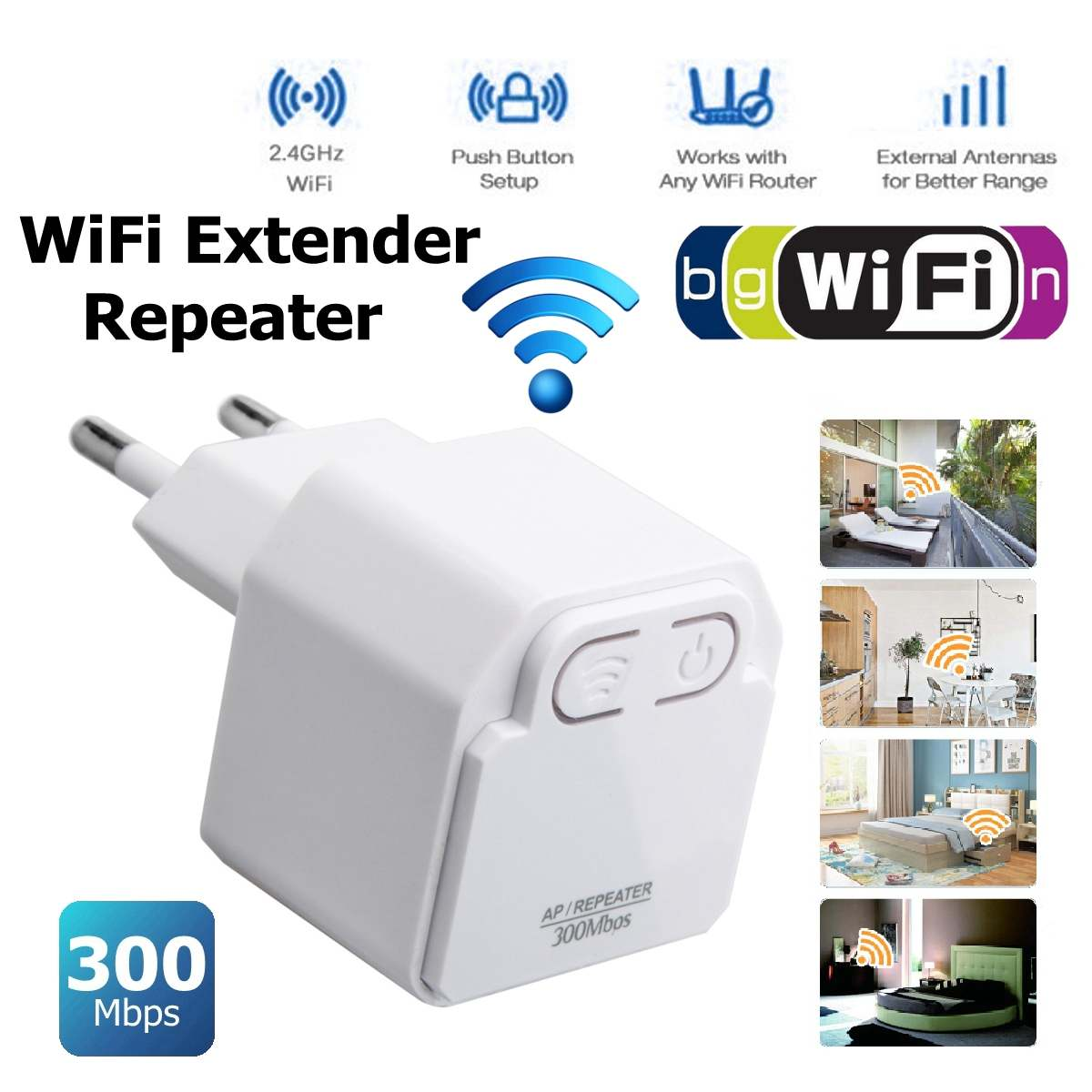 LEORY 300Mbps Mini Wireless Wifi Repeater Router  Booster Extender EU Plug Home Network Two Mode