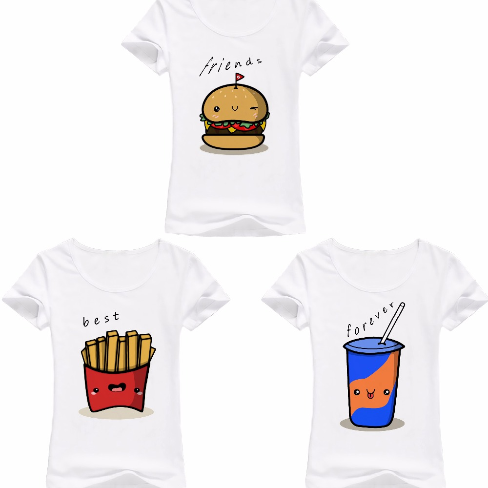 BFF Hamburger chips cola best friends 3 forever t shirt women jollypeach summer new white Tshirt femme casual funny T-Shirt