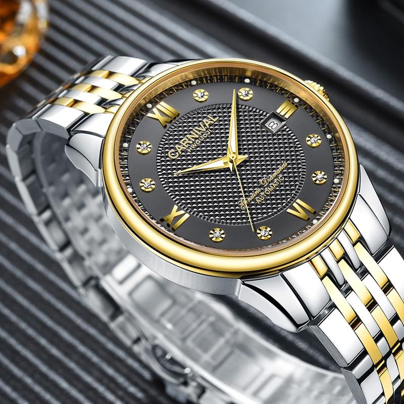 Carnaval masculino relógio automático breve com strass data luxo relógio mecânico simples relógio de negócios - 2
