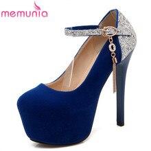 Memunia плюс размер 34-42 женщины насосы 2017 стилет высокие каблуки партии свадебные туфли цепи платформа круглый носок моды обувь одного
