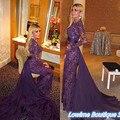 Sexy Púrpura Largo 2017 Mangas Largas Llenas Del Cordón Applique Lentejuelas Abendkleider Vestidos de Fiesta Por Encargo Vestido De Fiesta con el Tren