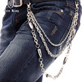 New Fashion Men's Punk Biker Bullet 3 Line Wallet Key Chain Silver Metal Trousers Jean Chain Hip Hop Gothic Pant Chain J16