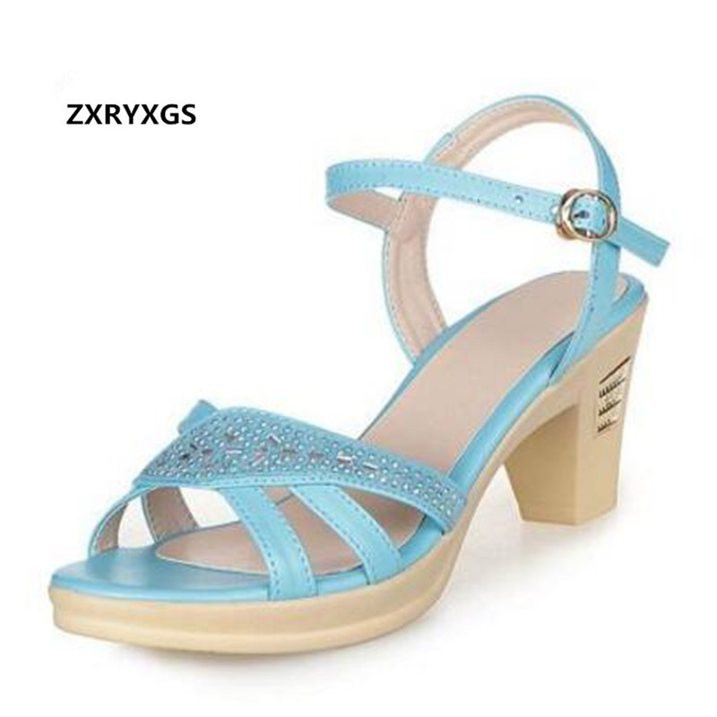 Newest Cowhide Rhinestones Summer Shoes Woman Fashion Sandals 2019 Best-selling Genuine Leather Shoes Women Shoes Summer Sandals