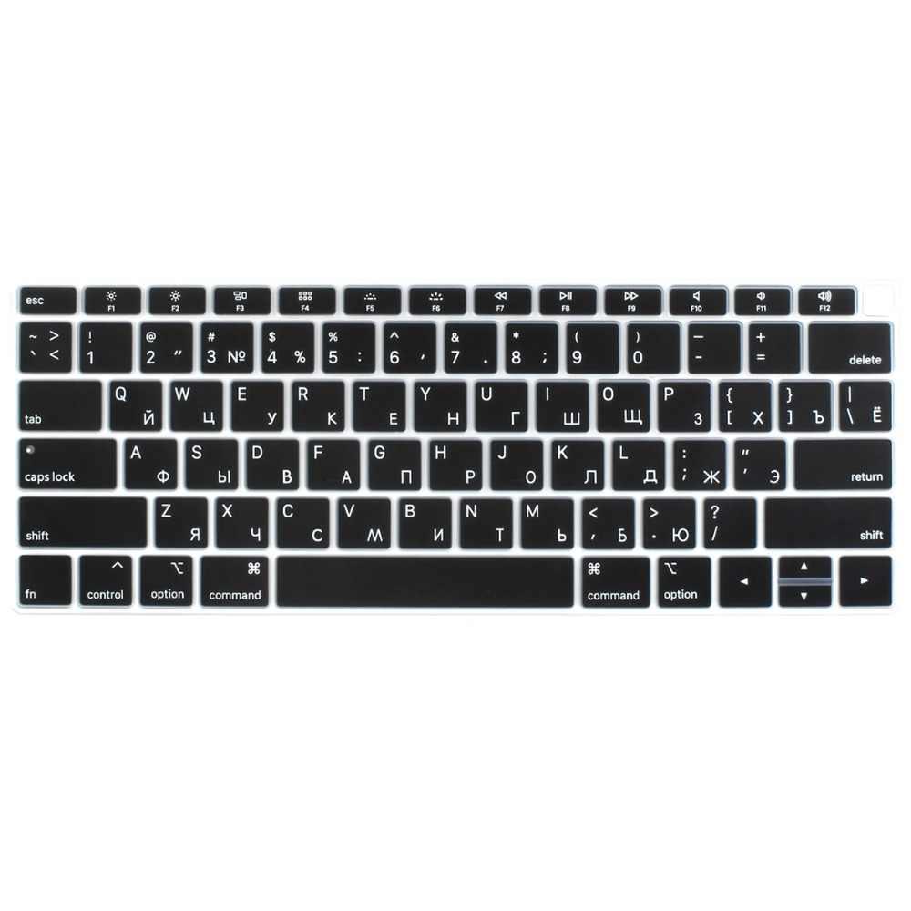 Silicone eua/ue layout teclado russo capa protetor para macbook novo ar 13 2020 2019 a2179 a1932 retina cyrillic língua