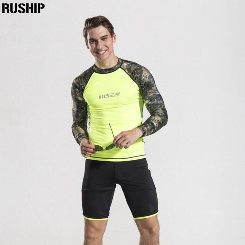 Hisea Men elasticity Swimwear Surf Rash Guard Shirt Tights and Shorts Diving Skins Wet suit Jacket UV men Protection Two Parts