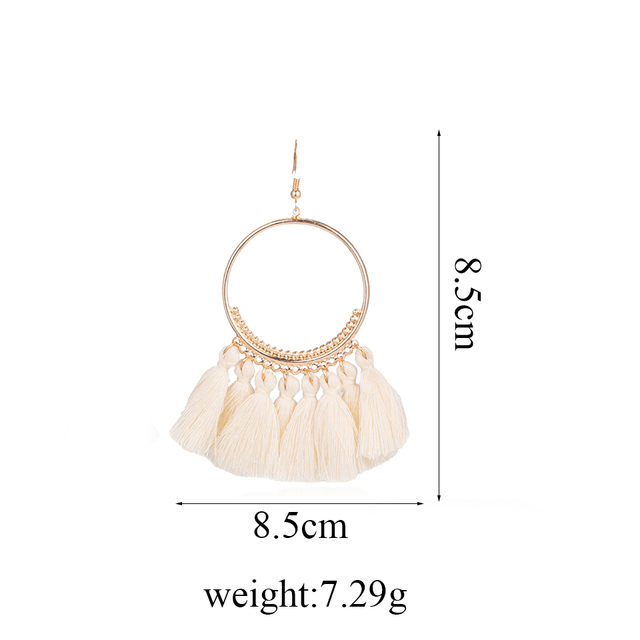 2018 Fashion Bohemian Ethnic Fringed Tassel Earrings for Women Golden Round Circle Ring Dangle Hanging Drop Earrings Jewelry 2