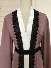 Big size 2018 Adult emboridery lace cotton liene Robes Musulmane Turkish Abaya Muslim Cardigan Robes Arab Worship Service Wj154