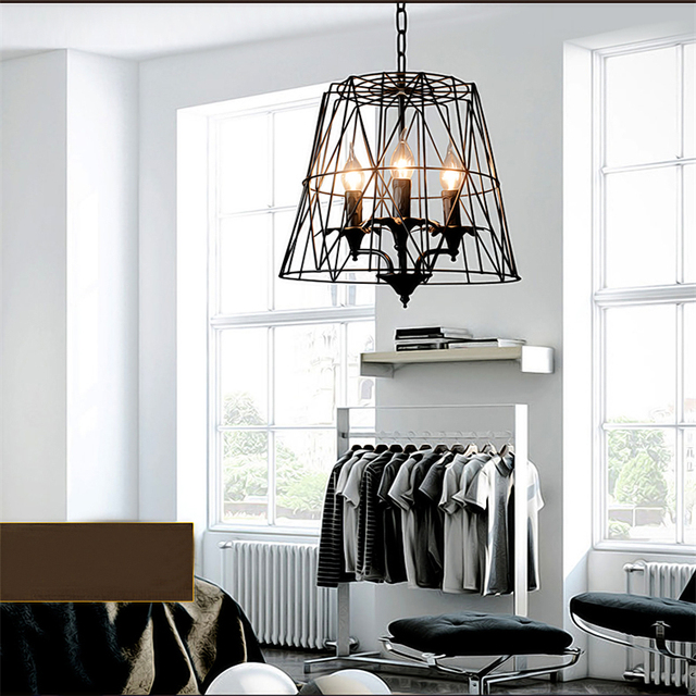 Black Wrought Iron Cages Pendant Lights American Village Personality Art Deco Suspension Lamp Project Brand Design