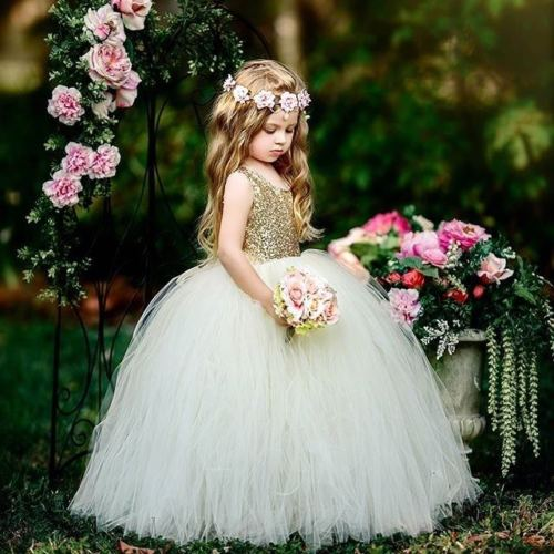 Luxury Princess Girl Lace Tulle Dresses Pageant Wedding Ball Gown Party Toddler Children Girl Dresses