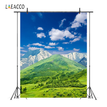 Laeacco Blue Sky Clouds Green Mountain Trees Scenic Photography Backgrounds Customized Photographic Backdrops For Photo Studio photography backdrops white clouds green grass backdrops newborn purple flower trees sunshine digital studio background
