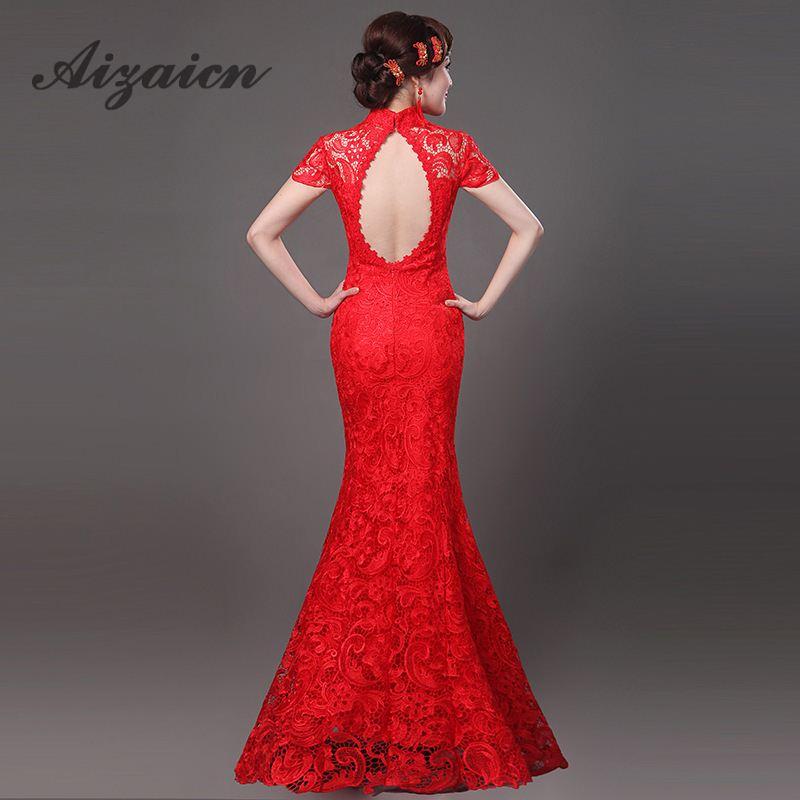 2fbca5ea1 Sexy Cheongsam encaje rojo Backless moderno Qipao vestido chino Oriental  vestidos tradicionales vestidos de boda largo Qi Pao envío libre