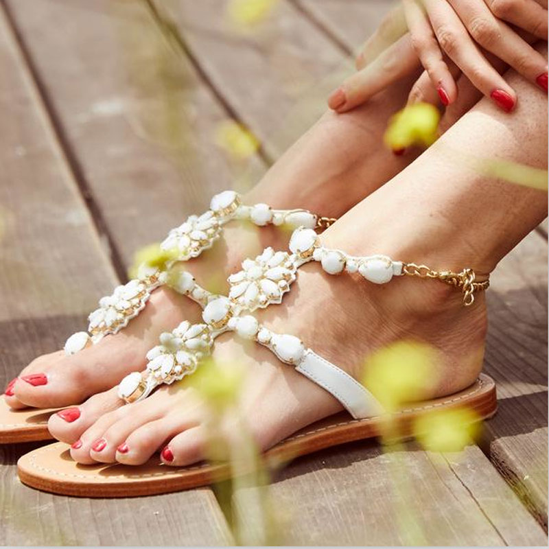 New Summer Shoes Women Fashion Flat Women Sandals Leisure Bohemia Ladies Beach Flip Flops Soft casual Female Sandals Shoes hot fashion summer women shoes women s metal c flat sandals female summer slippers flip flops ladies beach sandals femme chinelo