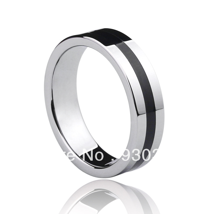 Free shipping Tungsten Gold Black Silicone Ring Jewelry wedding