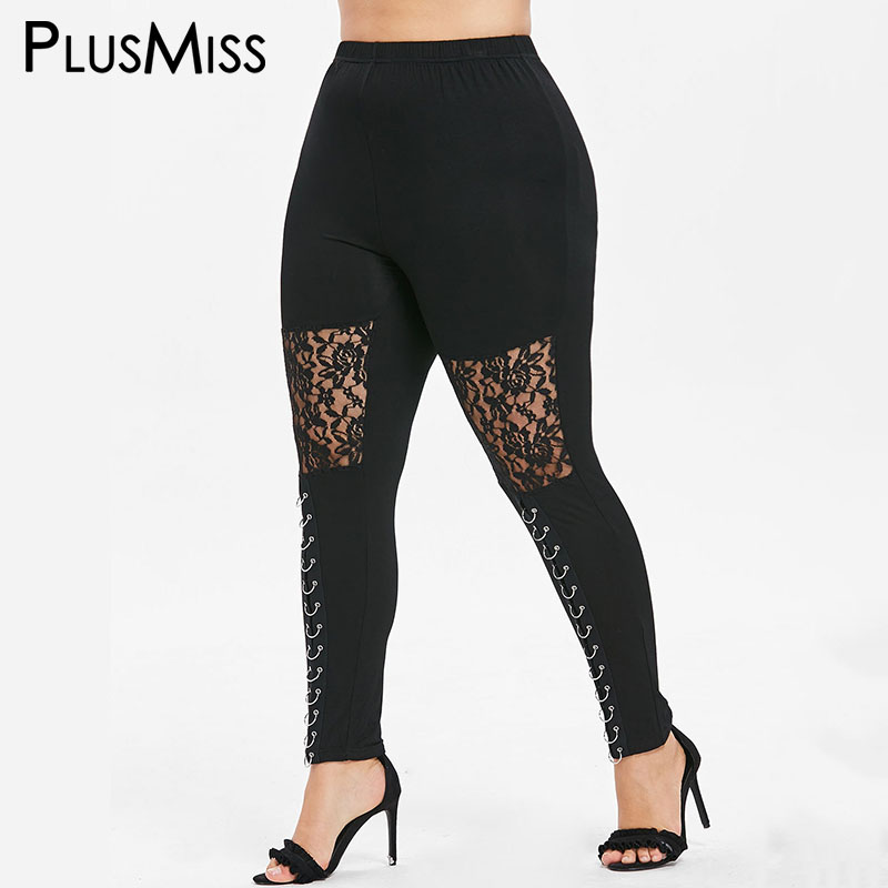 PlusMiss Plus Size High Waist Lace Mesh Sexy Skinny   Leggings   Women Big Sheer Legins Workout Fitness Jeggings Leggins XXXL XXL