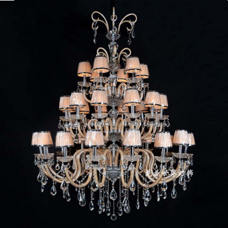 Candle crystal chandeliers double floor living room lamps modern creative Villa Hotel lo ...